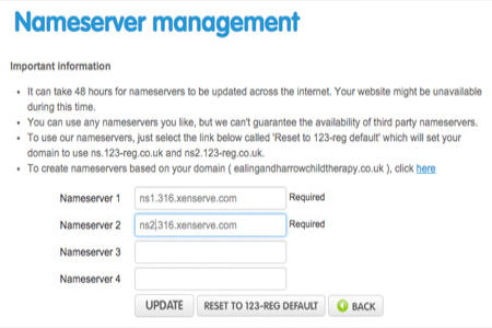 123 REG nameserver management