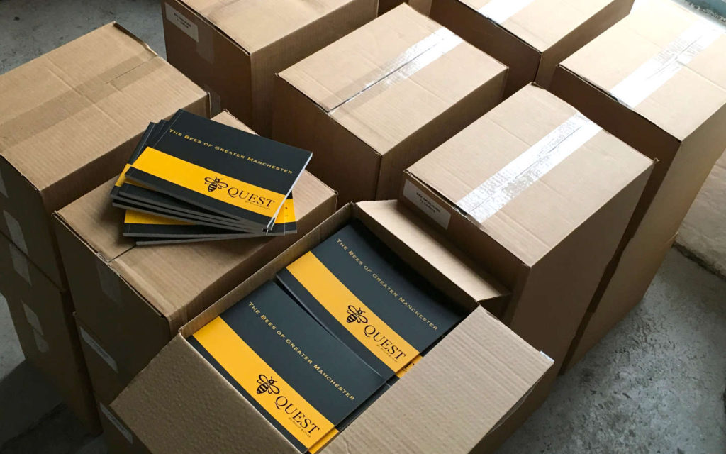 2000 copies of Bee Quest - The Bees of Greater Manchester arrive at my website design studio in Manchester