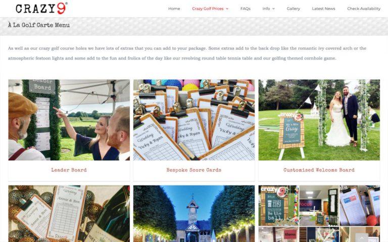 manchester website developer portfolio - crazy9 a la golf carte menu