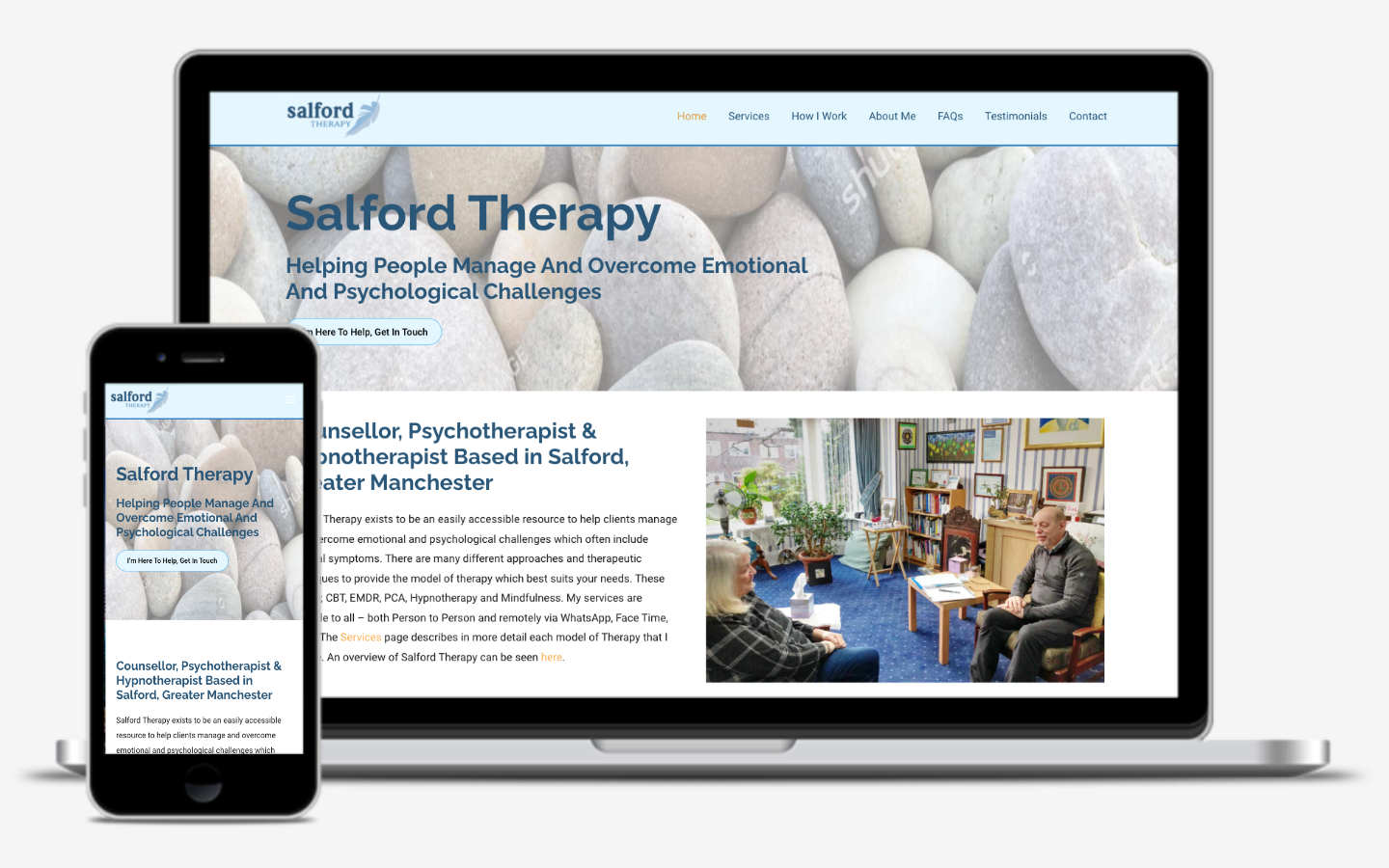 manchester website developer portfolio - salfordtherapy-before