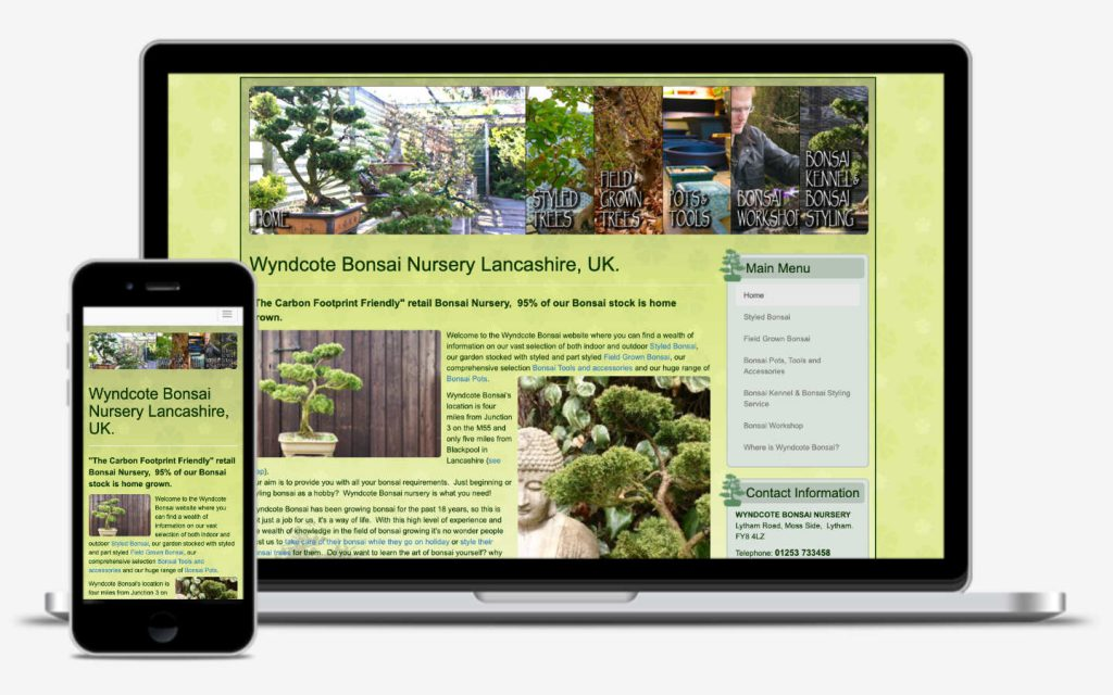manchester website developer portfolio - wyndcote bonsai
