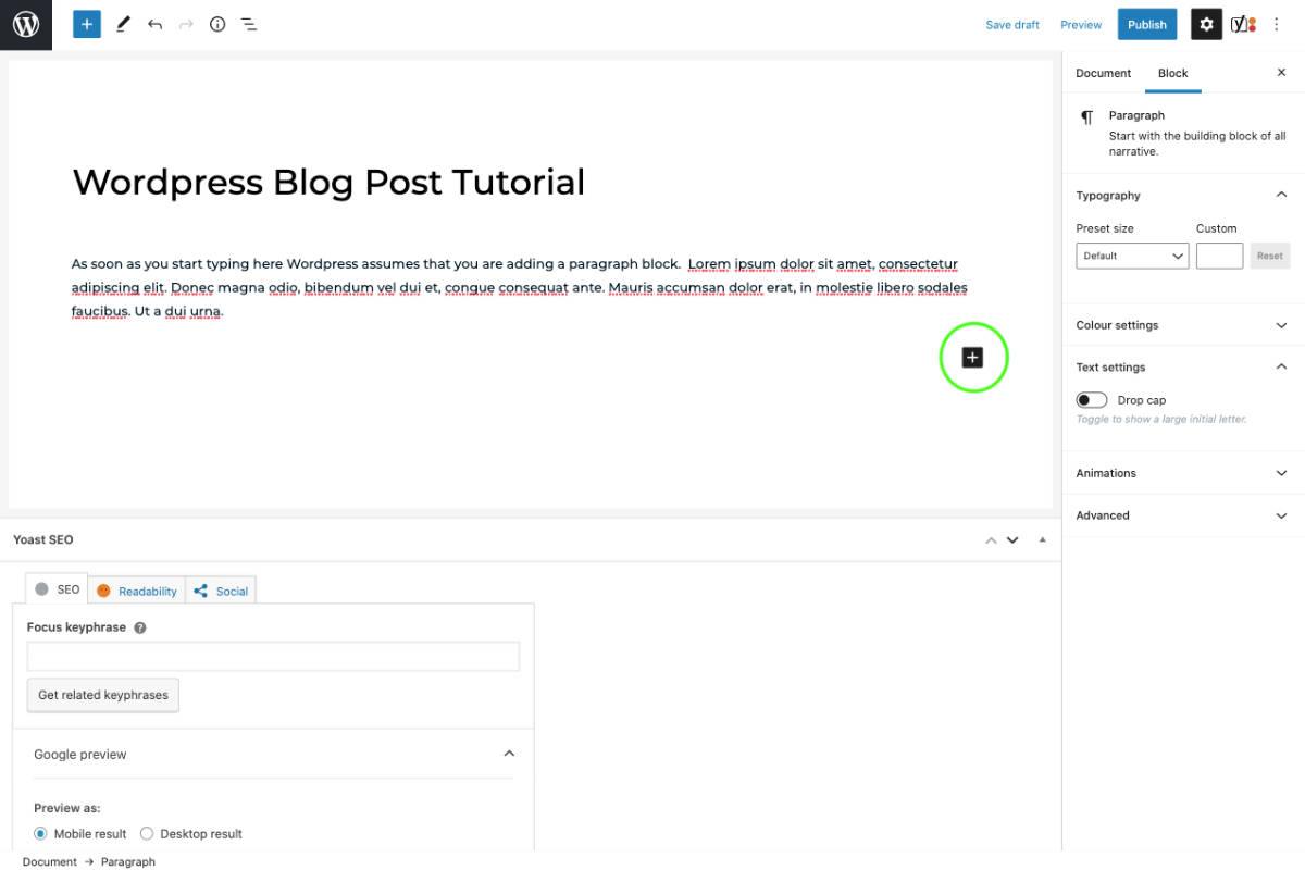 wordpress add a new block