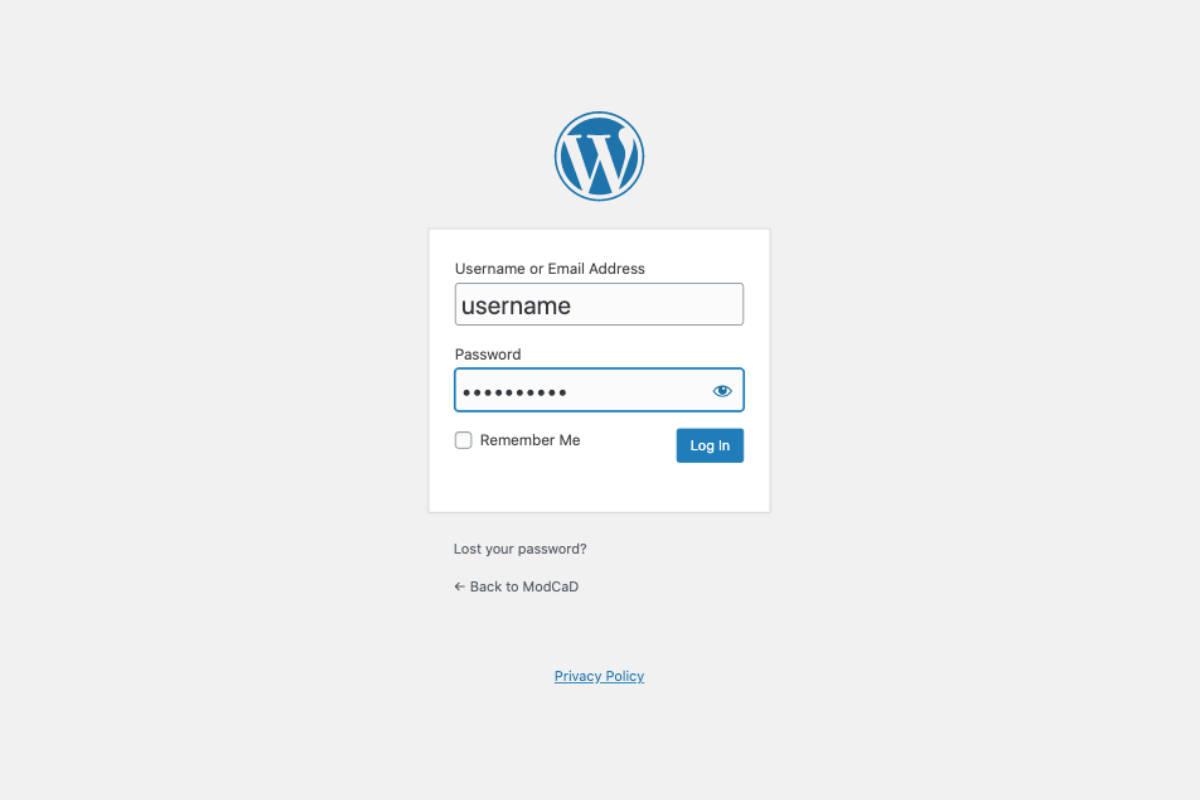 wordpress administrator login