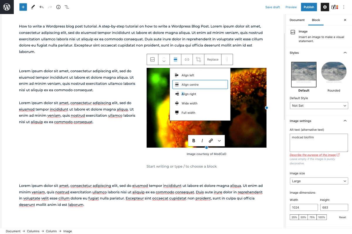 wordpress block editor add an image