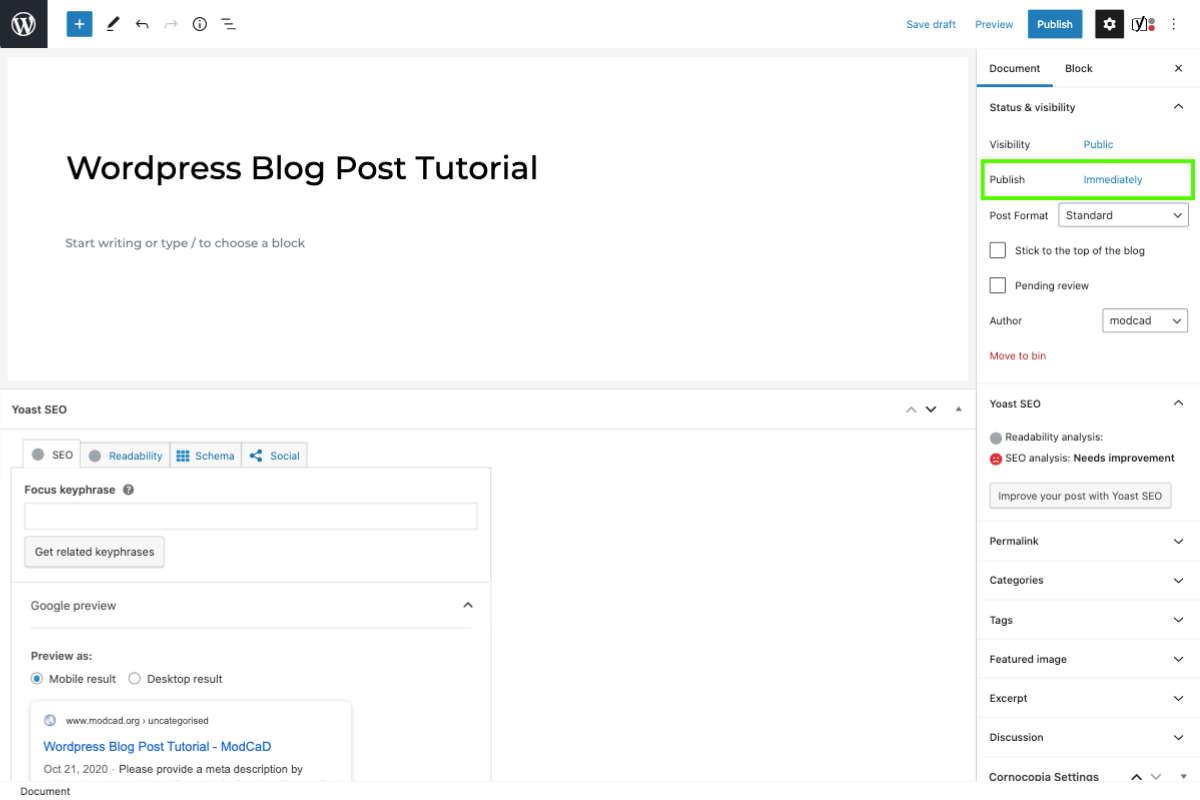 manage your own WordPress blog post wordpress document settings publish date
