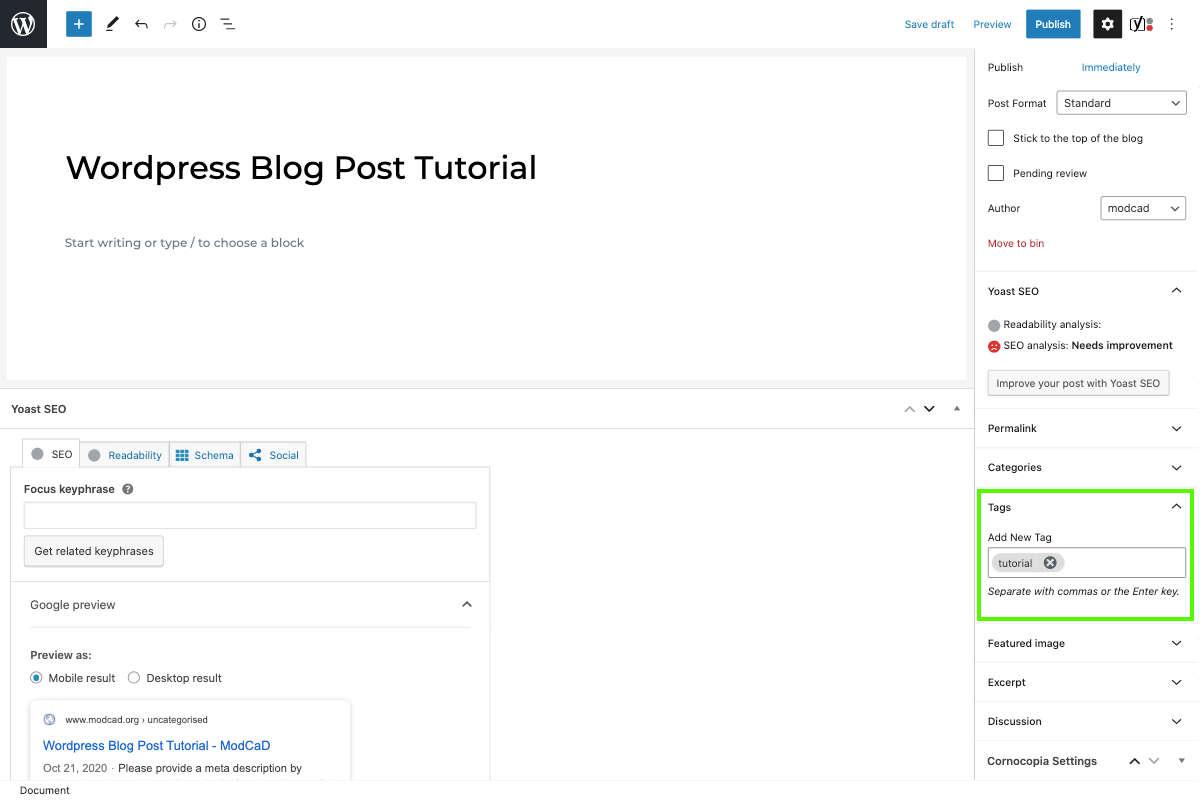wordpress document settings tags