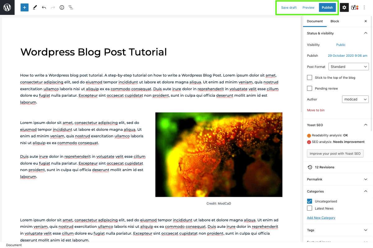 wordpress save draft publish and switch to draft